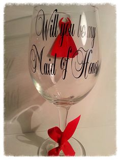 Will you be my Maid of honor bridesmaid matron of honor personalized wine glass. Choose your vinyl colors Matron Of Honour, Maid Of Honor, Monogrammed Glasses, Wine Glass, Wine Bottles, Personalized Wine, Wedding Gifts, Wedding Ideas, Dream Wedding