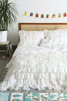 Waterfall White Ruffle Duvet Cover white queen $180