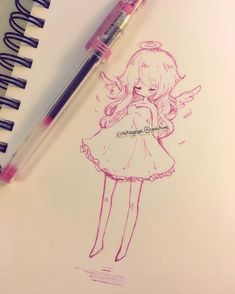 i wish I had wings in rl so I wouldn't have to take the bus everywhere (´・ω・`) anyways if you missed my post this morning I started using twitter again~ it is https://twitter.com/Yoaihime , i mostly post really quick doodles and my thoughts so if you would like to follow me I will appreciate it <3 but please make sure URL is /Yoaihime as there is an account on twitter pretending to be me and that one is fake ;^; anyways some people asked me about my pen, it is a korean brand and the pen name…