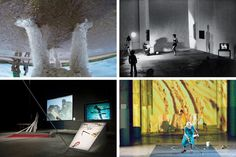 """Clockwise from top left: a still from the 2014 video """"Beautiful Dog,"""" made with a GoPro camera and featuring Jonas's poodle, Ozu; """"Organic Honey's Vertical Roll,"""" involving Jonas's alter ego in multiple costumes and on screen, performed in Milan, 1973; """"The Shape, the Scent, the Feel of Things,"""" which uses two works by the Imagist poet H.D. as source material, performed at Dia: Beacon in 2005; an installation of Jonas's """"Volcano Saga (1985-1989),"""" based on a 13th-century Icelandic myth…"""