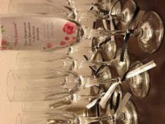 Bridal shower favor - champagne flutes with specialty cocktail recipe inside, accompany with tiny bottles of prosecco