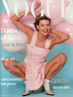 Pink Gingham – Linda Evangelista by Steven Meisel, Vogue Italia January 1994