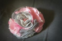Shabby chic Kyla flower in pink and by BindingCreations on Etsy