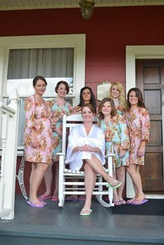 Tiffany Blue Wedding Theme Ideas - Knee length Robe Style Made From CC4 Fabric Pattern. This is a unique bridesmaids gift idea - Perfect photo prop for the getting ready time on your big day as well as a practical gift which can be used by the bridesmaids long time after the wedding. Robes like these can also be used as spa robes, lounge wear, they are also commonly referred to as kimono crossover robe. These robes are also ideal for bridal shower, wedding favors, bridal party.