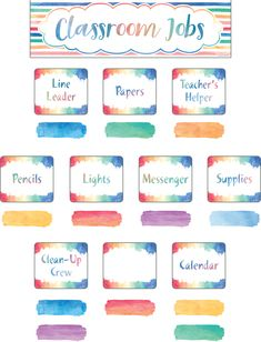 - Watercolor Classroom Jobs Mini Bulletin Board, Set a soothing tone in your class with this beautiful classroom jobs display. The header piece measu. Classroom Jobs Display, Classroom Setting, Future Classroom, Classroom Themes, Classroom Organization, Class Jobs Display, Classroom Incentives, Primary Classroom, Kindergarten Classroom
