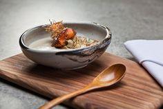 Kurimusupu Traditional Japanese dashi broth with topinambour, daikon sprouts and Chilean seebass marinated in homemade unagi sauce Unagi Sauce, Dashi Broth, Traditional Japanese, Sprouts, Serving Bowls, Homemade, Tableware, Inspiration, Biblical Inspiration