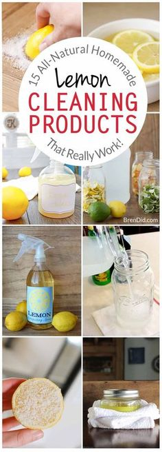 Homemade Lemon Cleaning Products, All-Natural Lemon Cleaners, How to Clean with Lemons, Lemon Cleaning, Green Cleaning, All-Natural Cleaing via @brendidblog
