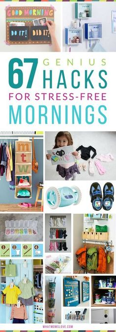 Hacks, Tips and Tricks for Stress-Free Mornings with Kids | Organization ideas for back-to-school. including morning routine checklists, clothes organization, command centers and backpack nooks, bathroom hacks, and more! Get all the inspiration at http://whatmomslove.com