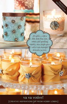 All aglow... with a little help from trim, ribbon and spiraling baubles, turn simple glass votives into beautiful decorative accents.