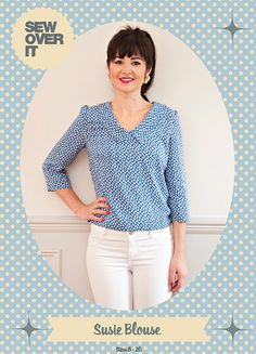 New advanced beginner sewing pattern from Sew Over It, the Susie Blouse. An everyday versatile top with a cute collar and three variations.