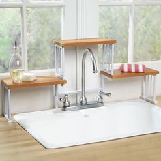Create extra counter space with an over-the-sink shelf.