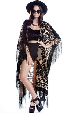 Floral Brocade Fringe Kimono - Tan - Saltwater Gypsy #saltwatergypsy