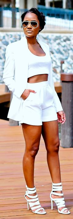 White Street Chic Summer Suit by The Daileigh