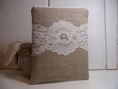 *** Linen pouch with pretty white lace.