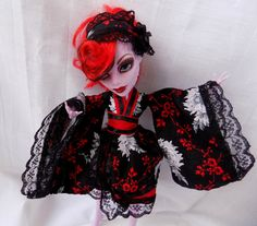 Black and red blossoms japanese kimono - dress and headdress for MH and EAH