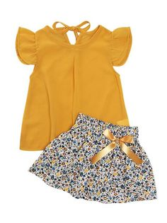 Mustard Ruffle Top and Floral Flare Skirt Baby Girl Dress Patterns, Dresses Kids Girl, Little Girl Outfits, Little Girl Fashion, Kids Fashion, Fashion Clothes, Dress Girl, Girl Clothing, Skirt Outfits