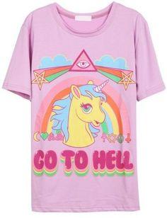 Black Short Sleeve Rainbow Horse Print T-Shirt ...