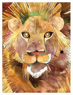 DiaNoche Designs LiOn by Marley Ungaro Painting Print Plaque Size: H x W x D Contemporary Curtains, Wood Plank Walls, Painting Prints, Art Prints, Lion Of Judah, Lion Art, Illustrations, Outdoor Throw Pillows, Unique Home Decor