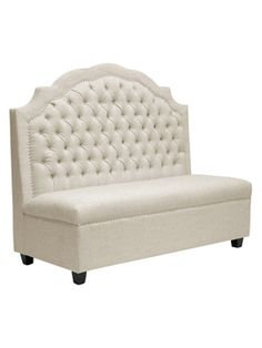 Trumbull Beige Linen Modern Settee from Apartment on a Budget on Gilt