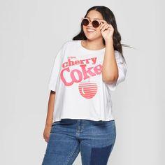 43b3ae89908 Women s Coca-Cola Plus Size Short Sleeve Cherry Coke Cropped Graphic T-Shirt  (Juniors ) White