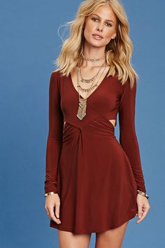Forever 21 Contemporary - A knit skater dress featuring a surplice front, waist cutouts, V-neckline, long sleeves, and a flared hem. Red Dress Forever 21, Surplice Dress, Women's Fashion Dresses, Woman Dresses, Shop Forever, Skater Dress, Different Styles, Latest Trends, How To Wear