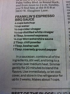 Bon Appetit named Franklin BBQ the best in America. This is one of their sauce… Rub Recipes, Smoker Recipes, Grilling Recipes, Sauce Recipes, Cooking Recipes, Barbecue Recipes, Cooking Ideas, Sauce Barbecue, Bbq Sauces