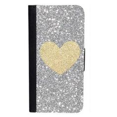 CellPowerCasesTM Gold Glitter Heart Silver Glitter Background iPhone 6... ($16) ❤ liked on Polyvore featuring accessories, tech accessories, black, black glitter iphone case, gold iphone case, iphone cover case, black iphone case and iphone case