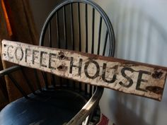 rustic distressed coffee house 3 ft wood sign - Distressed Cafe Decor