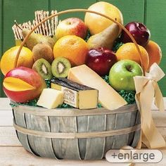 Stew Leonard's - Jumbo Cheese & Fruit Basket, Gift giving is easy with our big basket of dairy fresh cheeses and farm fresh fruit. Best Food Gifts, Gourmet Food Gifts, Gourmet Recipes, Food Gift Baskets, Gourmet Gift Baskets, Basket Gift, Fruit Basket Delivery, Stew Leonard's, Cheese Baskets