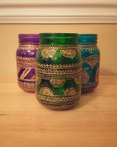 3 Hand Painted Henna inspired vases/lanterns with by TheArtStreet, $89.99