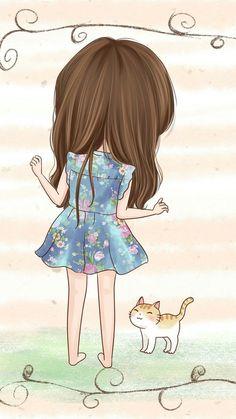 รูปภาพ cute, cat, and girl