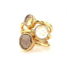 Robindira Unsworth Stackable Rings. Set of 3 in Citrine, Quartz, and Smoky Quartz.
