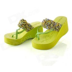 Fashionable High Heel Flip-Flops Slippers for Women - Green (Size-38 / Pair)
