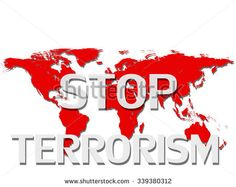 Stop terrorism,world map and White background - stock photo