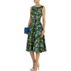 Oscar de la Renta for THE OUTNET Printed silk-satin dress ($893) ❤ liked on Polyvore featuring dresses, multi colored dress, colorful dresses, fitted cocktail dresses, multi-color dress and multicolored dress