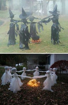 Trash Bag Witches and The Ring of White Garbage Bag Ghosts. #halloweencraftsdiydecorations