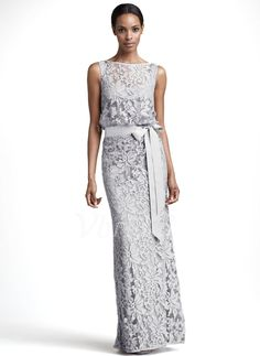 Mother of the Bride Dresses - $193.55 - Sheath/Column Scoop Neck Floor-Length Tulle Mother of the Bride Dress With Appliques Lace Bow(s) (0085094876)