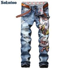 32.30$  Watch now - http://ali4mi.shopchina.info/1/go.php?t=32813268985 - Sokotoo Men's fashion crane plum blossom flower embroidery jeans Casual holes ripped torn washed denim pants  #buychinaproducts