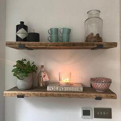 Alcove Shelving, Bar Shelves, Kitchen Shelves, Kitchen Decor, Display Shelves, Display Ideas, Kitchen Ideas, Scaffold Shelving, Industrial Wall Shelves