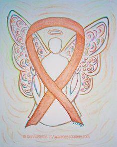 Bright Gold Awareness Ribbon Guardian Angel Painting Art