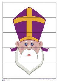 Puzzles Saint-Nicolas Des puzzles de 4 - 5 - 6 et 9 pièces sur le thème de Saint-Nicolas (Saint-Nicolas, la mitre, la crosse, l'âne...) Ils pourront être plastifiés ou utilisés comme exercices.