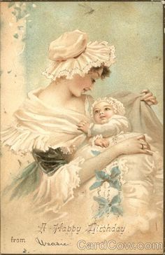 Mother and Baby in Frilly Dress Birthday #vintage #postcard #postcards…