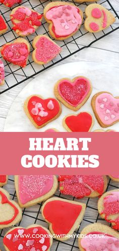 These heart cookies are the perfect Valentine's themed bake for children. Use a heart shaped cookie cutter and some spinkles to make these cute cookies. #heart cookies #iced cookies #baking with kids #cute bakes #kids bakes #easy recipes #baking with toddlers
