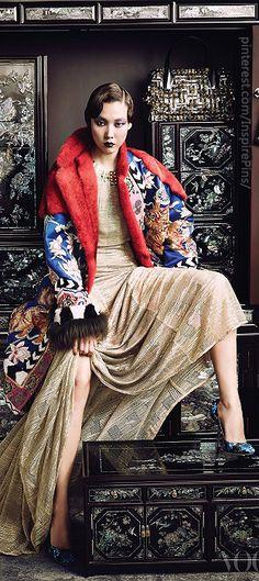 Gold dress Escada,  coat Tom Ford,  shoes Miu Miu, Photography Kim Bo Sung