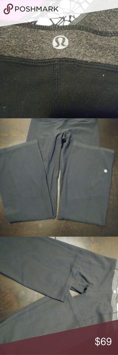Lululemon yoga pants Lululemon yoga pants reversible waist 28 inseam is 31 they look and feel like new, don't know what happened with the last two pics on those Lululemon yoga pants I believe the flash kept going off which makes them look like a gray but they are solid black and they are in excellent condition I will take more pics of them soon as I get some time lululemon athletica Pants Track Pants & Joggers