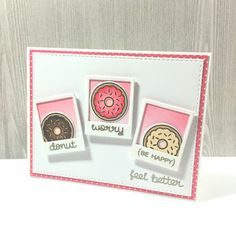 Bubblegum Paper: Donut Worry, Be Happy (Get Well Card for myself) | Lawn Fawn & Mama Elephant