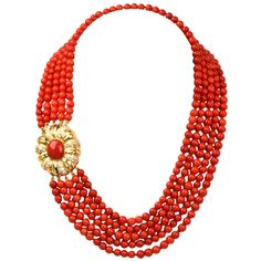 Red Coral Bead Diamond Yellow Gold Necklace | From a unique collection of vintage beaded necklaces at https://www.1stdibs.com/jewelry/necklaces/beaded-necklaces/