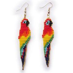 Aretes Animal Earrings, Seed Bead Earrings, Beaded Earrings, Seed Beads, Beaded Jewelry, Loom Patterns, Beading Patterns, Basson, Beaded Animals