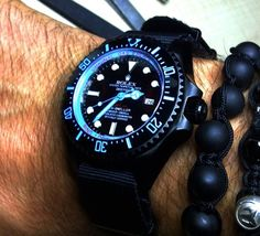 custom black/light blue Rolex