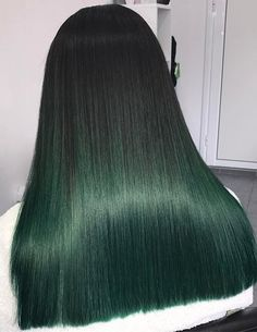 Ombre Hair Color - Bottle Green Ombre On Blunt Cut Ends Funny word, ombre. The Ombre Hair Color is getting updated this season again! Check out these 40 amazing Ombre hair color and style ideas and Green Hair Ombre, Black And Green Hair, Green Wig, Brown Ombre Hair, Green Hair Colors, Ombre Hair Color, Hair Color Balayage, Cool Hair Color, Ombre Style
